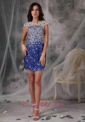 Evening Nightclub Dress Peacock Blue Column Scoop Tulle Beading