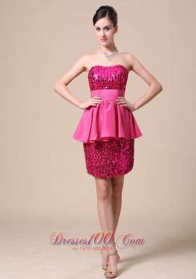 Stunning Beaded Paillette Over Skirt and Strapless Party Dress