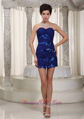 Royal Blue Prom Nightclub Dress Sweetheart Mini-length Sequined