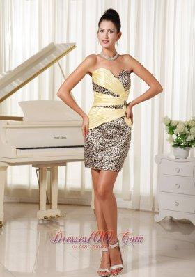 Leopard Simple Sweetheart Mini-length Cocktail Dress