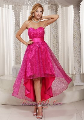 Hot Pink Evening Dress Paillette Over Skirt High-low Sweetheart