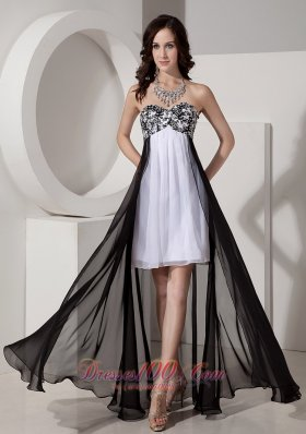 Black and White Beaded High-low Prom Dress with Appliques