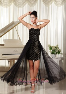 Special Fabric High-low Black Evening Celebrity Dress Tulle