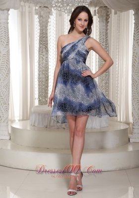 Multi-color High-low One Shoulder Printing Dress For Prom