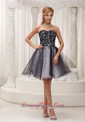 Sequins Cocktail Dress Lace Black and White Organza