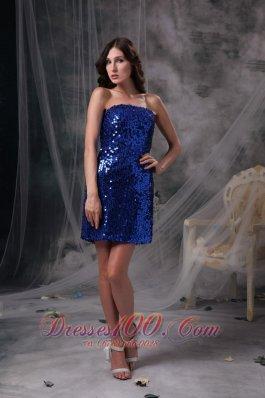 Peacock Blue Sequins Evening Dress Beading Mini-length