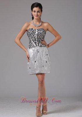 Silver Rhinestones Prom Cocktail Dress Mini-length