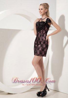 Black Cocktail Dress Column Strapless Lace Bow Mini-length