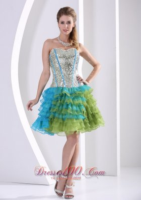 Multi-color Prom Party Dress Ruched Layered Beaded Print