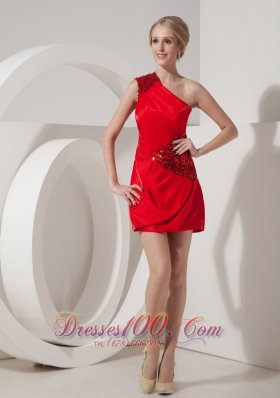 Red Silk Like Satin One Shoulder Short Prom Homecoming Dress Sequins
