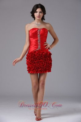 Red Ruched Beading Cocktail Dress Mini-length Taffeta