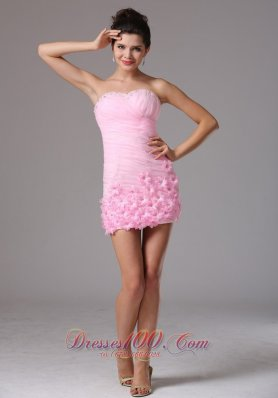 Baby Pink Floral Ruch Cocktail Dress Sweetheart