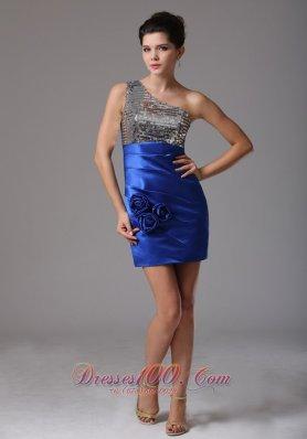 Blue One Shoulder Floral Prom Celebrity Dress Squin