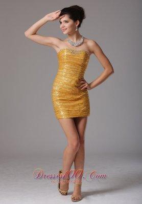 Gold Paillette Over Skirt Prom Celebrity Dress Beading