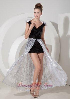 Detachable Black and Silver Prom Nightclub Dress V-neck Sequins