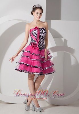 Zebra Print Sweet Strapless Short Prom Party Dress Mini-length