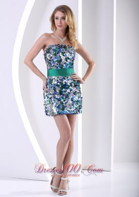 Cocktail Dress Paillette Over Skirt Mini-length Club With Belt