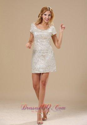 Short Sleeves Celebrity Dress Paillette Over Skirt Mini-length Scoop