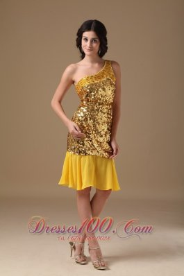 Gold Prom Dress One Shoulder Knee-length Sequin and Chiffon