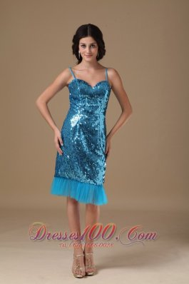 Teal Column Straps Knee-length Sequin Beading Prom Gowns