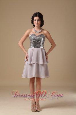 Grey Prom Dress Sweetheart Mini-length Chiffon Sequin