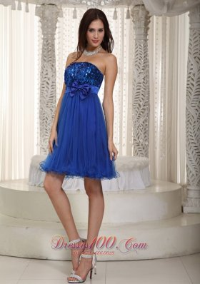Royal Blue Homecoming Dress Organza and Sequin Bowknot