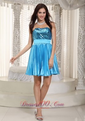 Popular Teal Prom Dress Strapless Mini-length Chiffon