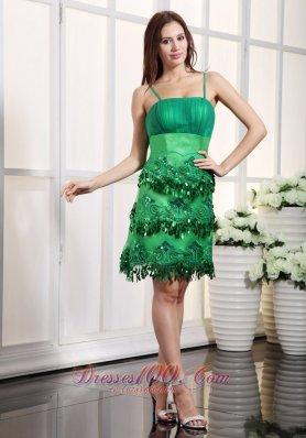 Appliques Prom Dress Green Straps Mini-length Satin