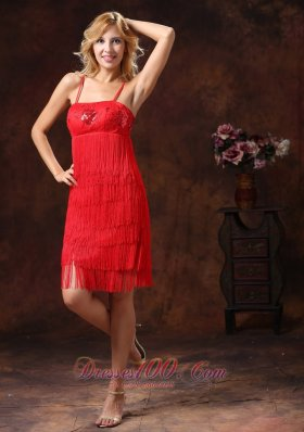 Red Cocktail Dress Spaghetti Straps Embroidery Sequins Knee-length