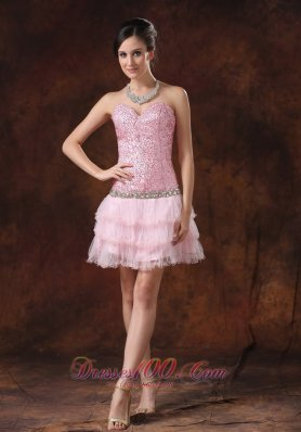 Homecoming Dress Sequin and Tulle Sweetheart Neckline Mini-length Beaded