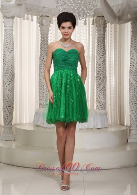 Green Cocktail Dress Princess Mini-length Tulle and Sequin Ruch