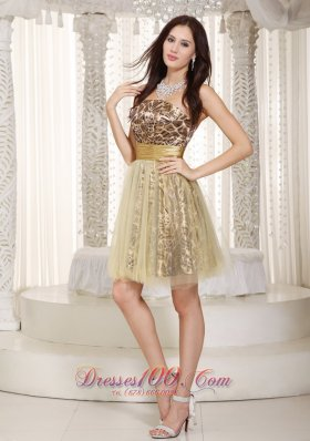 Champagne Leopard Strapless Knee-length Tulle Cocktail Dress