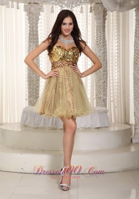 Champagne Cocktial Graduation Dress Sweetheart Mini-length Sequins
