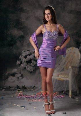 Lavender Evening Dress Straps Taffeta Beading Mini-length
