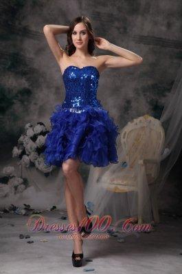 Royal Blue Evening Dress Organza Sweetheart Mini-length