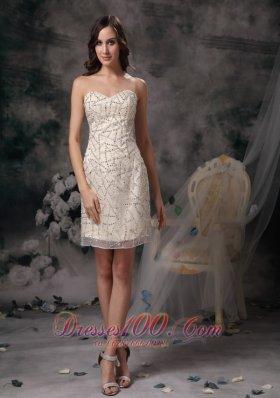 Champagne Homecoming Dress Taffeta Mini-length
