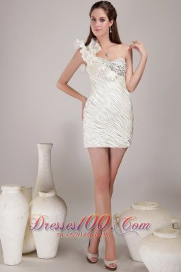 One Shoulder Elastic Woven Satin White Homecoming Dress Mini-length