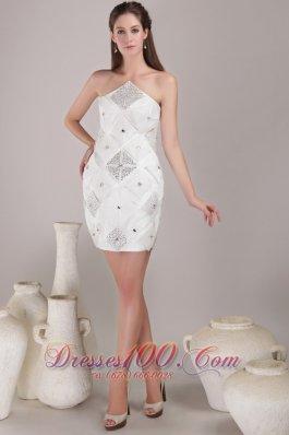 Prom Nightclub Dress White Column Asymmetrical Mini-length Satin Beading