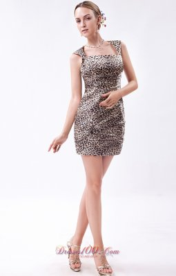 Zebra Mini-length Party Dress Column Straps