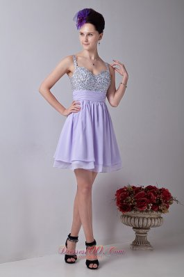 Lilac Empire Straps Mini-length Chiffon Homecoming Dress