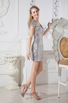 Silver Sequin Homecoming Nightclub Dress Column V-neck Mini-length