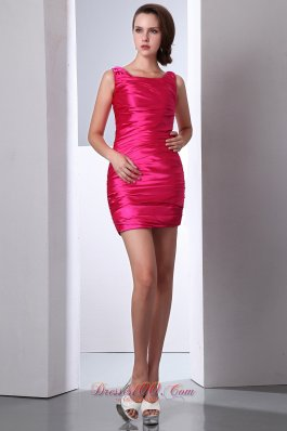 Hot Pink Scoop Cocktail Party Dresses Taffeta Ruch Mini-length