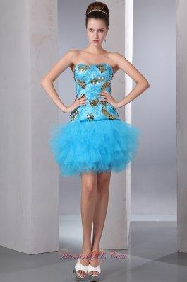 Aqua Blue Strapless Short Prom Party Dress Sequins Mini-length