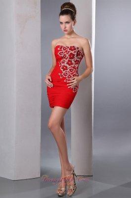 Red Column Short Prom Gown Chiffon Beading Mini-length