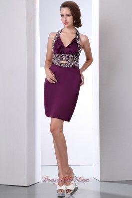 Dark Purple Prom GownColumn Halter Taffeta Beading