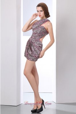 Leopard Prom Dress Column One Shoulder Mini-length