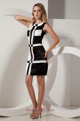 Prom Gown Black and White Taffeta Square Mini-length