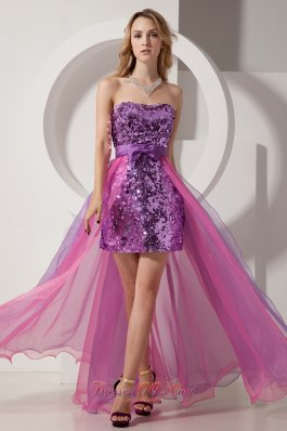 Righteous Purple and Pink Column Strapless Prom Party Dress High-low