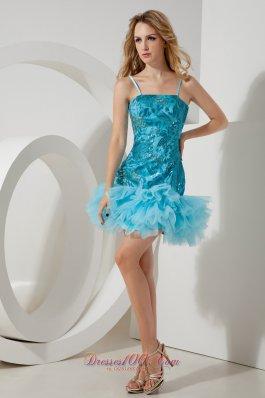 Aqua Blue Straps Short Homecoming Dress Mini-length Sequin