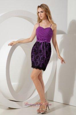 Party Dress Purple Straps Ruch Short Mini-length Lace